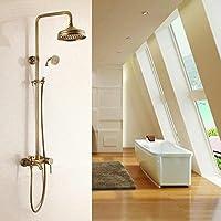 Finitura in ottone anticato, stile 3Bagno precipitazioni con spray doccia resistente ottone rubinetto Set hj-6599 antique