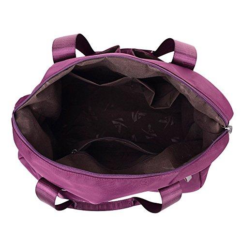 PB-SOAR Damen Herren Nylon Wasserdichte Schultertasche Umhängetasche Handtasche Sporttasche Reisetasche (Schwarz) Lila