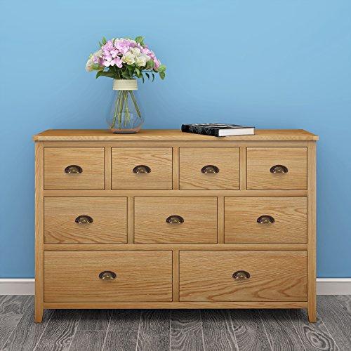 Ruication Moderne Eiche Sideboard Möbel mit Schublade Holzschrank Schrank 9 Schubladen Kommode Möbel für Wohnzimmer Esszimmer Küche Badezimmer Schlafzimmer Flur -