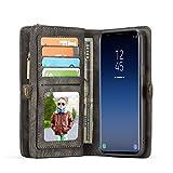 Lobwerk Handyhülle für Samsung Galaxy S9 Plus SM-G965 6.2 Zoll Hülle Flip Case mit Kartenfächern Cover Geldbeutel Etui aus Kunstleder Schutzhülle Tasche Schwarz