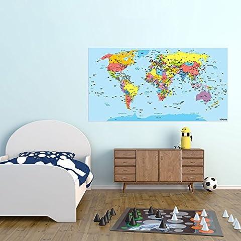Mapa del mundo–adhesivo decorativo para pared (114x 60cm)