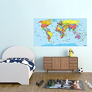 Big size world map removable nursery wall art decor mural decal world map wall art sticker 114 x 60cm gumiabroncs Image collections