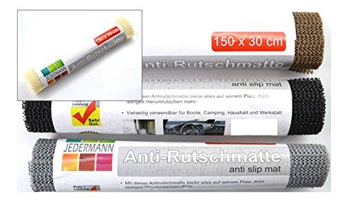 Antirutschmatte Antirutschunterlage Antirutsch Teppichunterlage 4 Rollen Set 30 x 150 cm mit Farbauswahl, Farbe:Grau