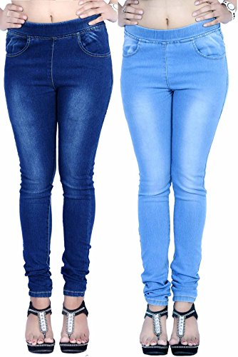 La Fem Women's Jeggings Combo LFJEGG7001DKBLUELTBLUE32_Dark Blue & Light Blue_32