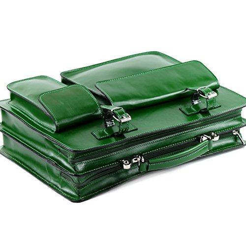 modamoda de - ital. Ledertasche DIN A4 Lackleder Kroko Prägung Business Aktenkoffer NL01 Dunkelgrün