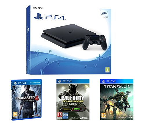 PlayStation 4 Slim (PS4) 500 GB - Consola + Call Of Duty: Infinite Warfare + Uncharted 4 + Titanfall 2