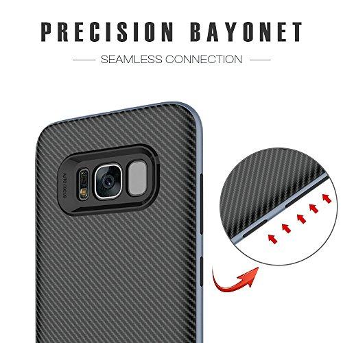 Schutzhülle Samsung Galaxy S8 Hülle, Ubegood Galaxy S8 Handyhülle Tasche Bumper Case Soft Silikon Case für Samsung Galaxy S8 Case Cover (5,8″) – Jet Schwarz - 2