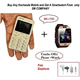 Kechaoda K66 Slim Card Size Light Weight And Stylish GSM Mobile Phone (Pink) + Smartwatch And Earphone Free