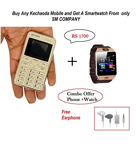 Kechaoda K116 Slim Card Size Light Weight and Stylish GSM Mobile Phone (Silver) + Smartwatch and Earphone Free