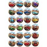 Lot de 24 mini-disques assortis Comestibles Disney Cars par Cakeshop Basiques