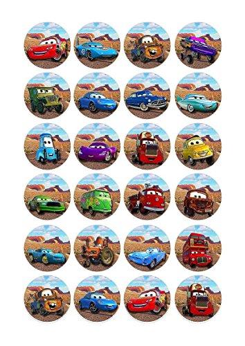 Cakeshop 24 x ESSBARE Disney Pixar Cars Kuchen topper (Tortenaufleger)