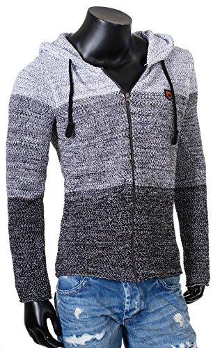 Carisma Herren Strickjacke mit Kapuze Zip Pullover Jacke hooded 7383 Cardigan slim fit Schwarz