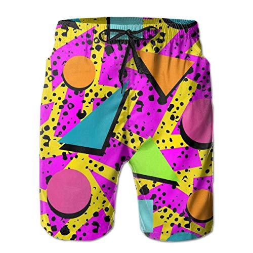 LarissaHi Herren Shorts Retro 80er Jahre geometrische Triangel Badehose Quick Dry Board Shorts Sommer Badehose für Sport M