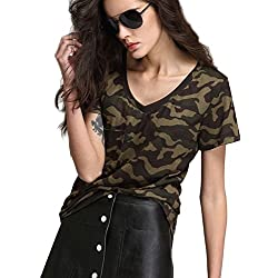 Escalier Mujer Camiseta Camuflaje Militar Estilo Corto Manga Camisetas y tops (44, Camuflaje)