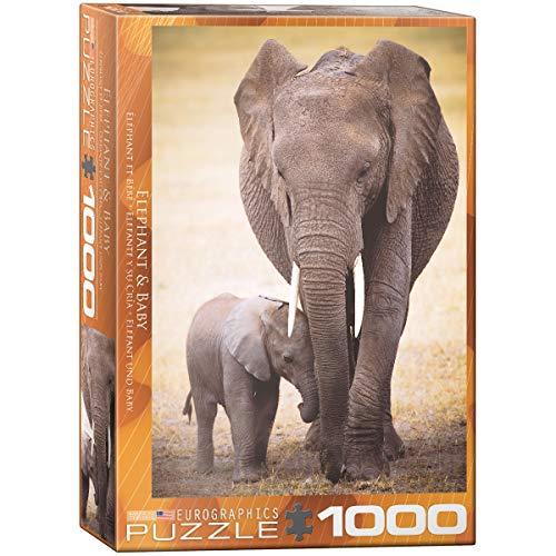 Eurographics Elephant & Baby 1000pcs Puzzle - Rompecabezas (Puzzle Rompecabezas, Animales, Niños y Adultos, Elefante, Niño/niña, Interior)
