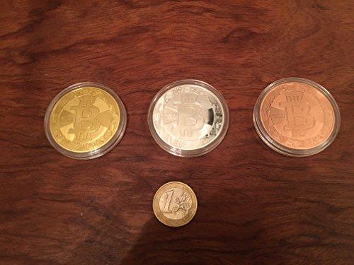 3er Set Bitcoin Münzen / Angreifbare Physische Physikalische Bitcoins – Dekomünzen Krypto-Muster BTC SET 40mm Gold, Silber & Kupfer farbig im Set – Mit SCHUTZKAPSEL - 6
