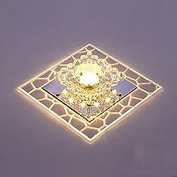 Lámpara de techo de cristal LED - SENYANG Mini estilo Decoración moderna Luz de cristal Luz caliente principal Luz auxiliar Iluminación interior para pasillo, sala de estar, dormitorio, sala de exposiciones, balcón (Luz cálida)