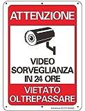 """AlfaView Cartelli Segnali Videosorveglianza 10""""x 7"""" Alluminio UV protetto e impermeabile Nessun metallo trasgredicente Segnale di sicurezza riflettente di sicurezza per casa d'affari (1 x Pack)"""