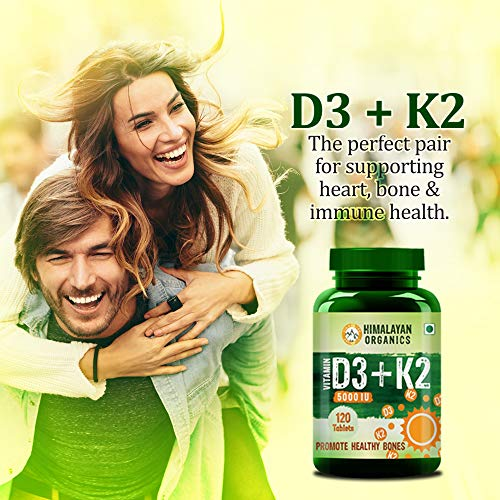 Himalayan Organics Vitamin D3 5000iu with K2 as MK7 100mcg supplement - 120 Veg Tablets
