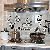 Mhdxmp Küche Wandaufkleber Kaffee Süße Lebensmittel Diy Wandkunst Aufkleber Dekoration Ofen Esszimmer Hall Tapeten Pvc Wandtattoos/Adhesive