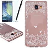 TPU Etui pour Samsung Galaxy A5 (2016), HB-Int 3 en 1 Original Motif Coque Fashion Design Housse Gel Silicone Souple Couverture Légère Slim Flexible Coque Protecteur Fonction Anti Choc Anti Rayure ?tui + Film de L'écran + Stylet (Papillon Fleur)