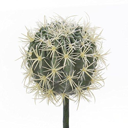 artplants Künstlicher Kaktus Schwiegermuttersessel, grün-gelb, Ø 18 cm - Deko Kugelkaktus/Kunstpflanze Kaktus