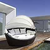 Lujo Jardín Muebles de ratán mimbre al aire libre cama sofá tumbona Set con dosel Patio Sol día Basma