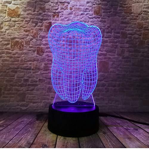 Neue Fantastische Illusion Tooth 3D LED Nachtlicht Bunte Kinder Baby Schlafzimmer Atmosphäre Touch Tisch Coole Lampe als geschenk für zahnarzt - Cool-touch-bereich