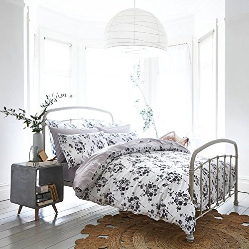 Bianca Cotton Soft Sprig - Bettwäsche-Set - Bettdecken- & Kissenbezug - 100% Baumwolle - Blumenmuster - Grau - Doppel (Bettdecke Bettwäsche Ensembles)
