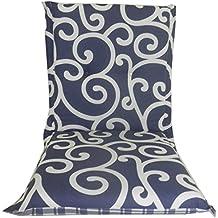 Cuscino reversibile per Giardino Mobili / Sedia a sdraio / reclinabile con schienale basso, Blu Barocco & Patterns Controllato