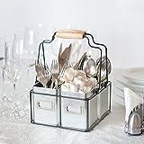 Kenley Besteck Caddy - Aufbewahrung Organizer Ordnungssystem für Küche oder Schreibtisch - Besteckständer Besteckkorb Ordnungshelfer Halter Ablage Box Behälter für Küchenutensilien - Vintage Design