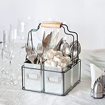 Kenley Galvanized Tin Caddy Kitchen Table Bar Holder For