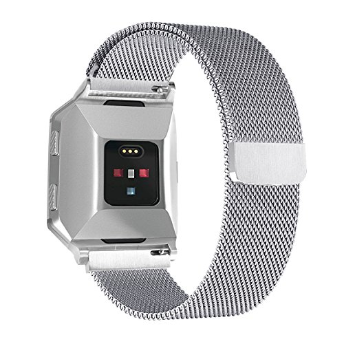 Aresh für Fitbit Ionic Uhrenarmband, Metall Milanese Loop Magnet Edelstahl Armband Strap Quick Release Band für Fitbit Ionic (Klein, Silber)