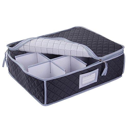 Gesteppte Aufbewahrungsbox für Tassen und Gläser, fasst 12 Einzelteile, Aufbewahrungsbox für...