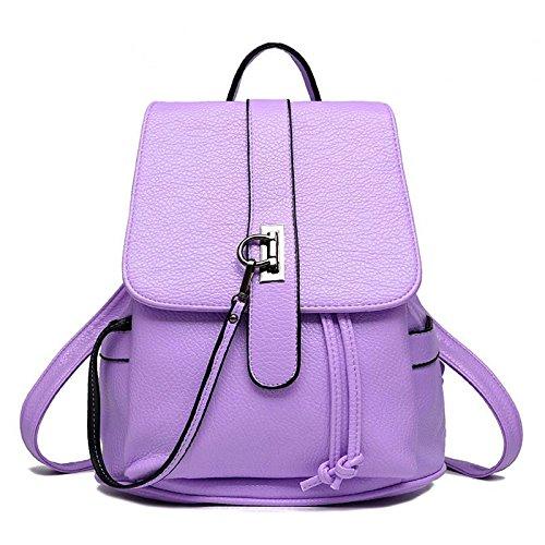 HQYSS Borse donna PU cuoio coreano Casual sezione verticale in rilievo tinta unita zaino donna Tote Bag , white purple taro