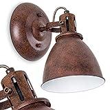 Wandleuchte KOPPOM aus Metall in Rostbraun – Wandlampe Wandstrahler für Wohnzimmer – Flur – Schlafzimmer – dreh- und schwenkbarer Lampenschirm – 1x E14-Fassung 40 Watt