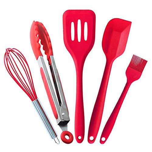 Wdj Silicone Kitchen Tool Utensils Set 5 Piece - Silicon Turner/Small Spatula/Basting Brush/Cooking Tongs Non Stick Cooking Tools, BPA Free&FDA (Red)