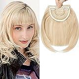 8'/20CM Frange a Clip Cheveux Rajout Extension a Froid Postiche Fausse Franges pas Cher - Blond Foncé Ombre Blond Blanchi