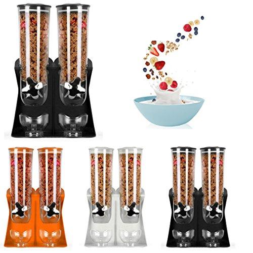 Wandspender für Müsli und trockene Lebensmittel, Doppel-Kammer, luftdicht, mit integrierter Auffangschale, für Zuhause, Küche, Theken, Frühstück, Haustiere, Katzenfutter,(silber) White Double