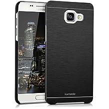kwmobile Funda rígida de alta calidad para Samsung Galaxy A5 (versión 2016) con refuerzo de aluminio pulido en la parte trasera en negro