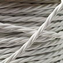 Art Deco Emporium - Cable flexible trenzado para iluminación (cubierto de tela, 0,5mm, 3 núcleos), color blanco