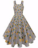 ABYOXI Women's Vintage 1950's Strap Sleeveless Floral Printing Picnic Party Cocktail Dress Yellow XL