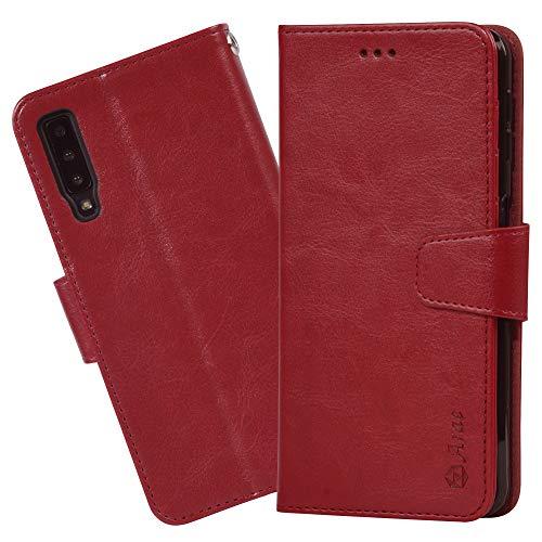 Arae Samsung Galaxy A7 2018 Hülle, Handyhülle Samsung Galaxy A7 2018 Tasche Leder Flip Cover Brieftasche Etui Schutzhülle für Samsung Galaxy A7 2018 (Weinrot)