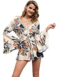 039a2500a2c2 Simplee Apparel Women's V Neck Backless Long Flare Sleeves Floral Print  Jumpsuit Short Playsuit