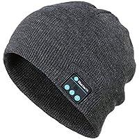 Lynn025Keats Musique Bluetooth Chapeau d'hiver Chaud Beanies Bonnet en Maille avec Micro pour Le Sport