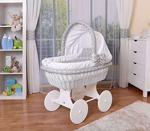 WALDIN Baby Stubenwagen-Set mit Ausstattung,XXL,Bollerwagen,komplett,26 Modelle wählbar,Gestell/Räder weiß lackiert,Stoffe weiß/Sterne-weiß