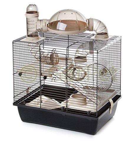 Komplett Hamsterkäfig inkl. Rohrsystem Käfig Nagerkäfig Mäusekäfig Zwerghamster (beige)