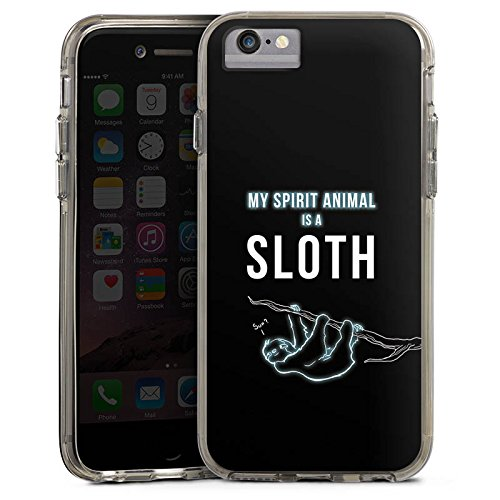 Apple iPhone 7 Plus Bumper Hülle Bumper Case Glitzer Hülle Faultier Sloth Phrases Bumper Case transparent grau