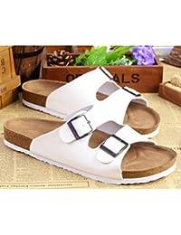 40e107787 DAIDAITX Zapatillas Zapatos Planos para Hombre Sandalias De Corcho Color  Sólido Antideslizante Playa De Verano para