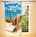 Clever-Kauf-24 Schlaufenschal Vorhang Gardine Leuchtturm, Düne & Meer BxH 145 x 245 cm   Sichtschutz   Lichtdurchlässiger Schlaufenvorhang